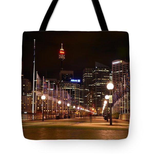 Foot Bridge By Night Tote Bag by Kaye Menner
