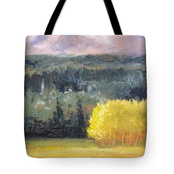 Foot Of The Mountain Tote Bag by Nancy Merkle