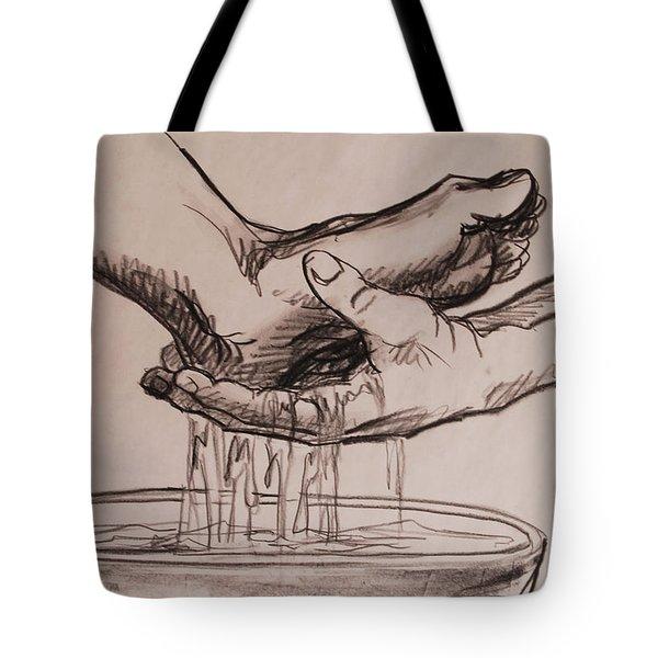 Foot Washing Tote Bag by Heidi E  Nelson