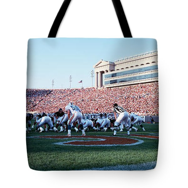 Football Game, Soldier Field, Chicago Tote Bag by Panoramic Images