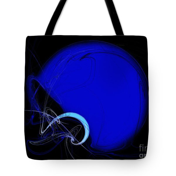 Football Helmet Blue Fractal Art 2 Tote Bag by Andee Design