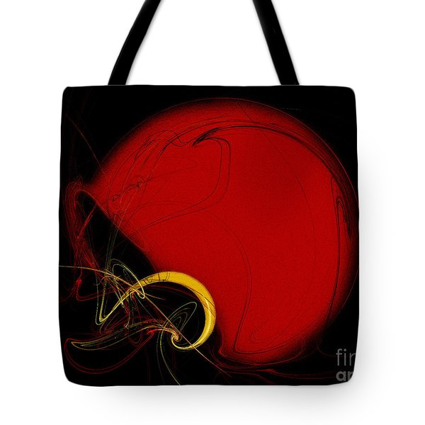 Football Helmet Red Fractal Art 2 Tote Bag by Andee Design