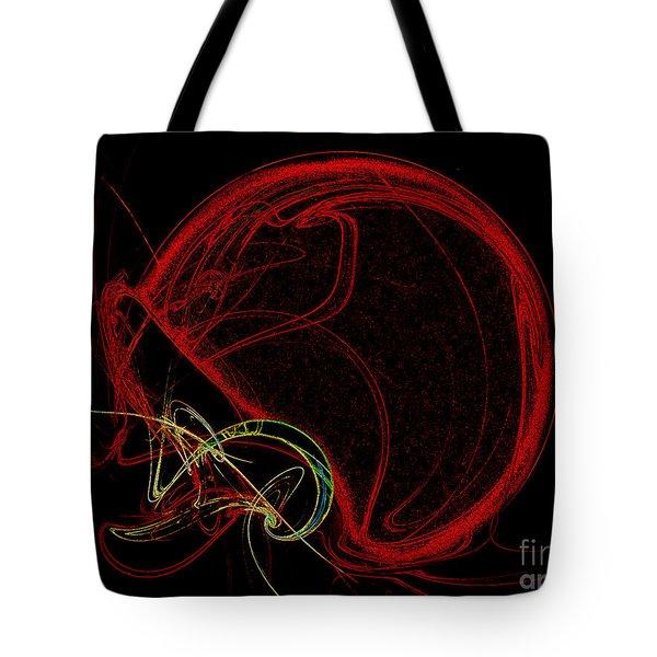 Football Helmet Red Fractal Art Tote Bag by Andee Design