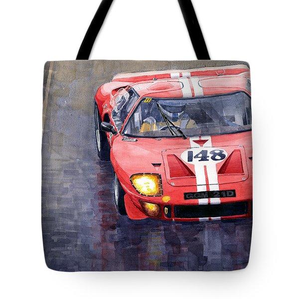 Ford Gt 40 24 Le Mans  Tote Bag by Yuriy  Shevchuk