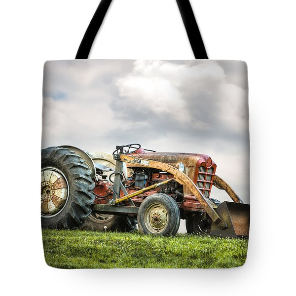 Ford Powermaster Tractor On A Hill Tote Bag by Gary Heller