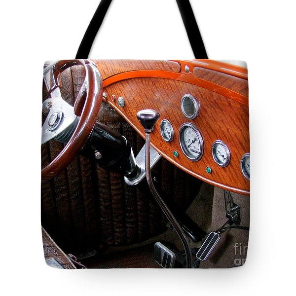 Ford V8 Dashboard Tote Bag by Mary Deal