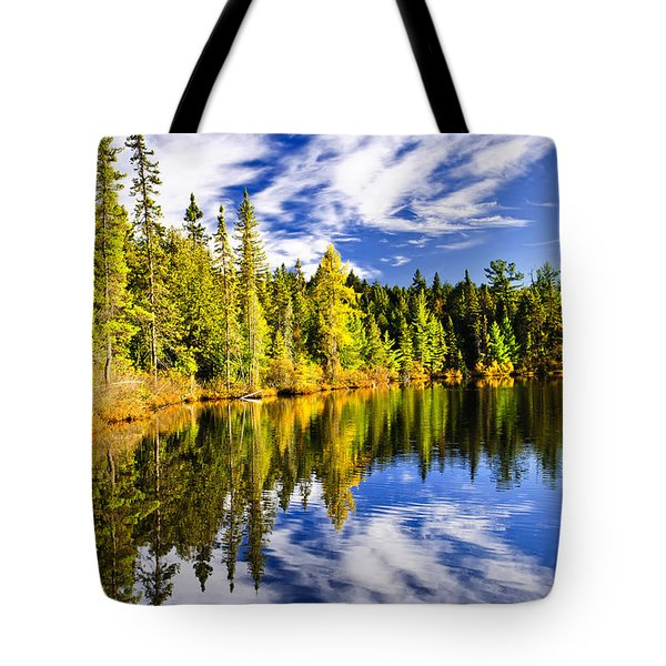 Forest And Sky Reflecting In Lake Tote Bag by Elena Elisseeva
