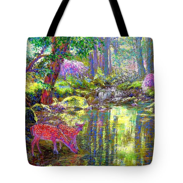 Forest Of Light Tote Bag by Jane Small