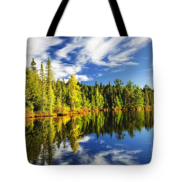 Forest Reflecting In Lake Tote Bag by Elena Elisseeva
