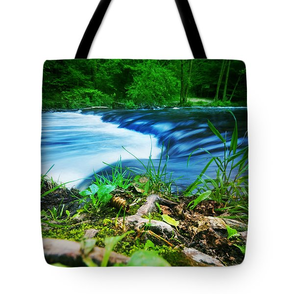 Forest Stream Running Fast Tote Bag by Michal Bednarek