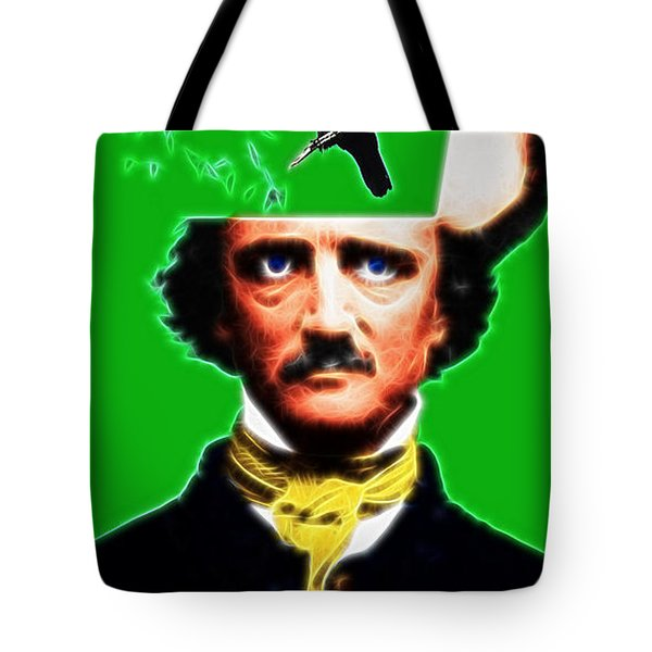 Forevermore - Edgar Allan Poe - Green - With Text Tote Bag by Wingsdomain Art and Photography