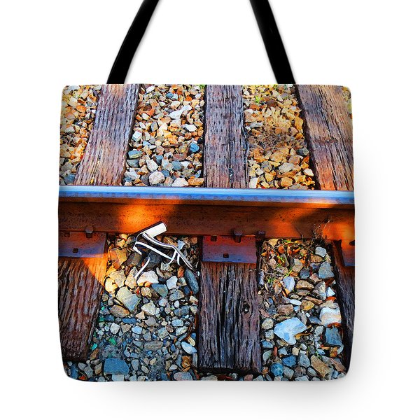 Forgotten - Abandoned Shoe On RailRoad Tracks Tote Bag by Sharon Cummings