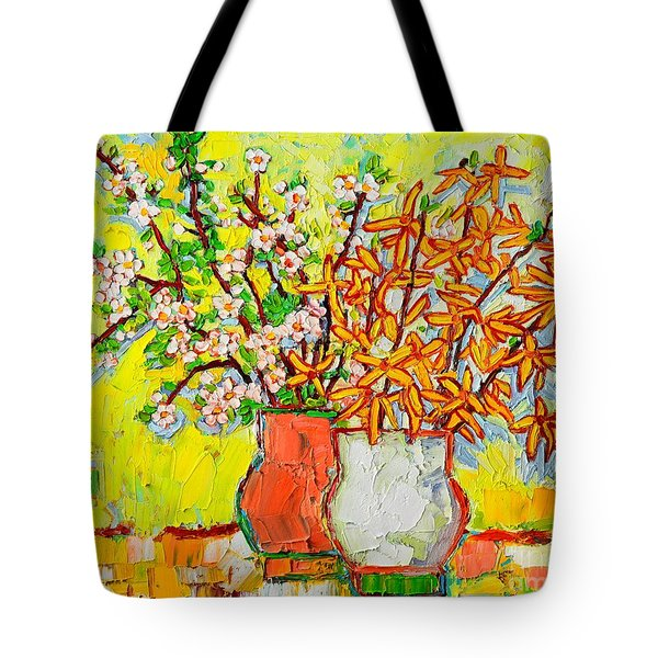 Forsythia And Cherry Blossoms Spring Flowers Tote Bag by Ana Maria Edulescu