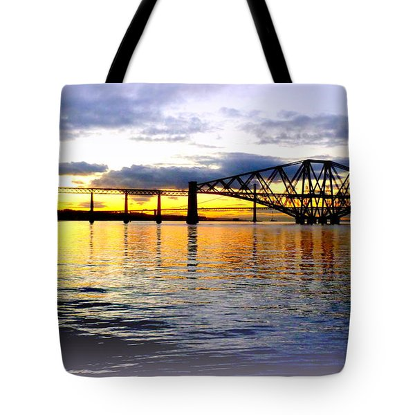 Forth Rail Bridge At Sunset Tote Bag by The Creative Minds Art and Photography