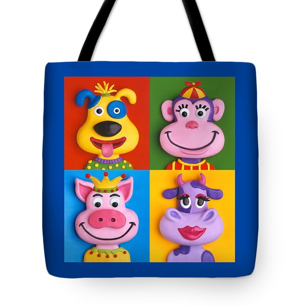 Four Animal Faces Tote Bag by Amy Vangsgard