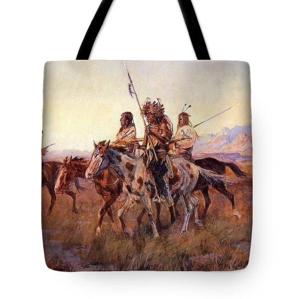 Four Mounted Indians Tote Bag by Charles Russell