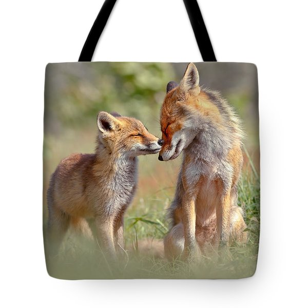 Fox Felicity - Mother And Fox Kit Showing Love And Affection Tote Bag by Roeselien Raimond