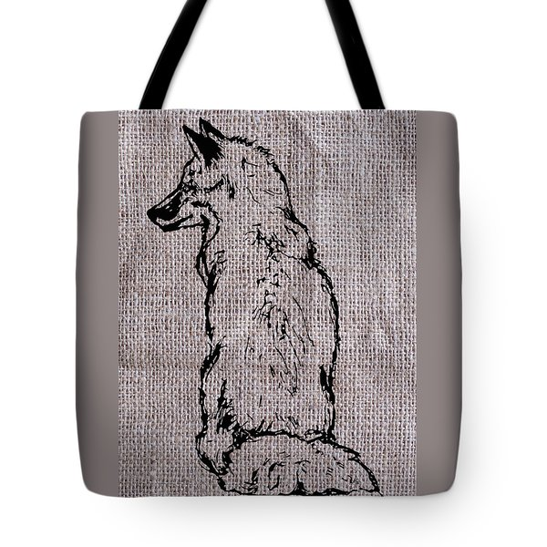 Fox On Burlap  Tote Bag by Konni Jensen