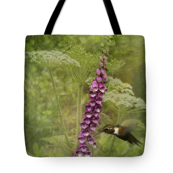 Foxglove Queen Ann's Lace and the Hummingbird Tote Bag by Diane Schuster