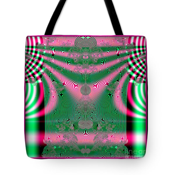 Fractal 34 Kimono In Pink And Green Tote Bag by Rose Santuci-Sofranko