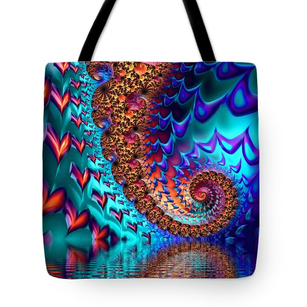 Fractal Sea Of Love With Hearts Tote Bag by Matthias Hauser