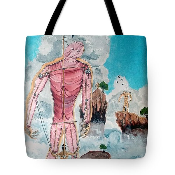 Fragiles colossus listen with music of the description box Tote Bag by Lazaro Hurtado