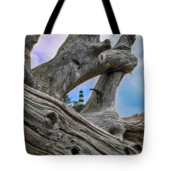 Framed Lighthouse Tote Bag by Robert Bales