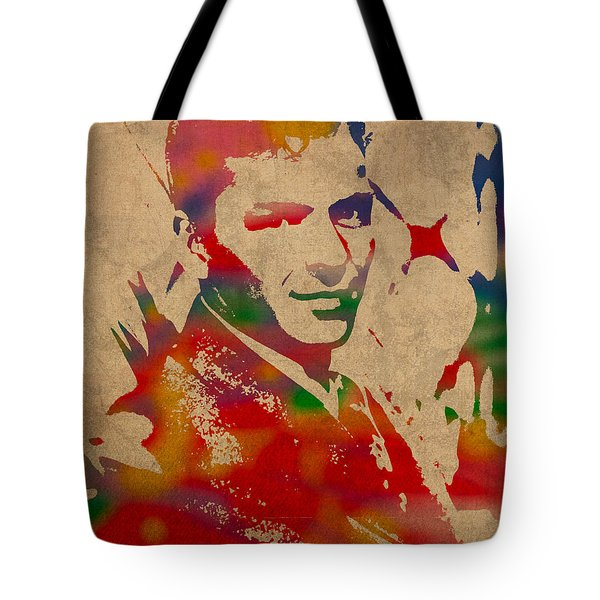 Frank Sinatra Watercolor Portrait On Worn Distressed Canvas Tote Bag by Design Turnpike