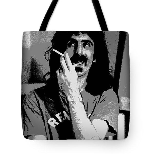 Frank Zappa - Chalk and Charcoal Tote Bag by Joann Vitali