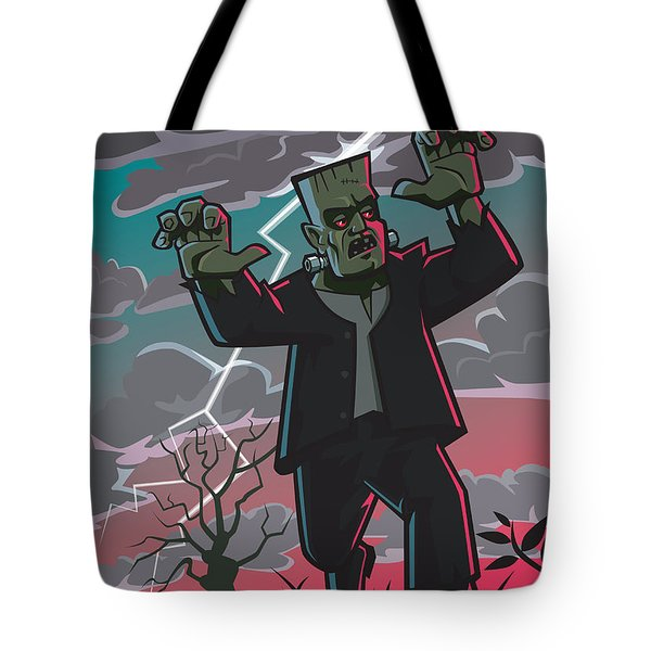 Frankenstein Creature In Storm Tote Bag by Martin Davey