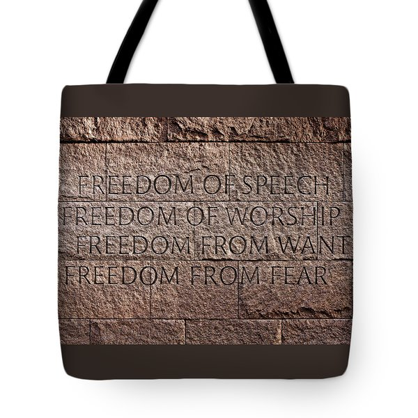 Franklin Delano Roosevelt Memorial Freedom Quote Tote Bag by John Cardamone