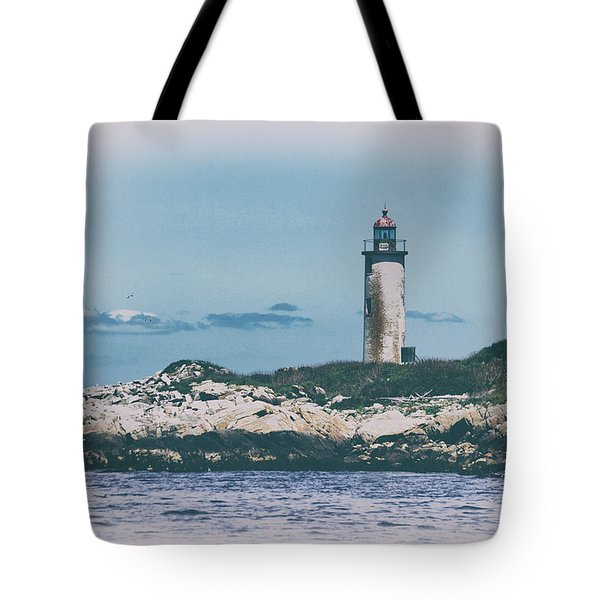 Franklin Island Lighthouse Tote Bag by Karol Livote