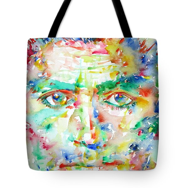 Franz Kafka Watercolor Portrait Tote Bag by Fabrizio Cassetta