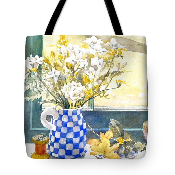 Freesias And Chequered Jug Tote Bag by Julia Rowntree