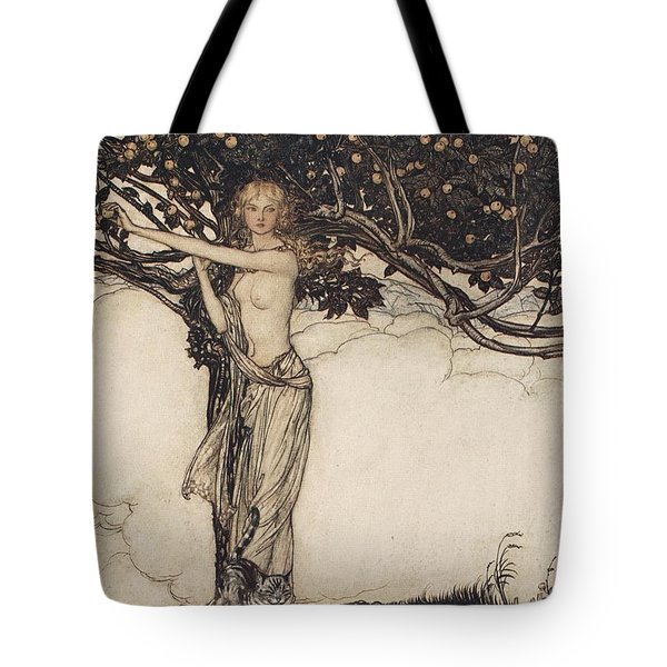Freia The Fair One Illustration From The Rhinegold And The Valkyrie Tote Bag by Arthur Rackham