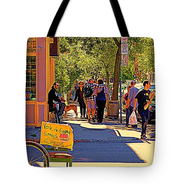 French Bread On Laurier Street Montreal Cafe Scene Sunny Corner With Vente De Garage Sign Tote Bag by Carole Spandau