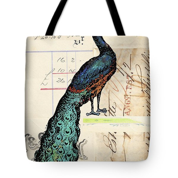 French Peacock Print Tote Bag by Adspice Studios