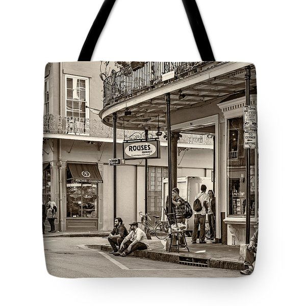 French Quarter - Hangin' Out Sepia Tote Bag by Steve Harrington