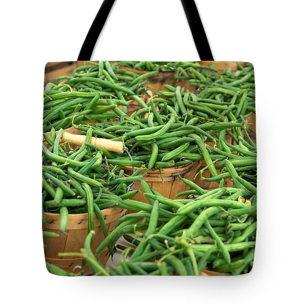 Fresh Green Beans In Baskets Tote Bag by Teri Virbickis