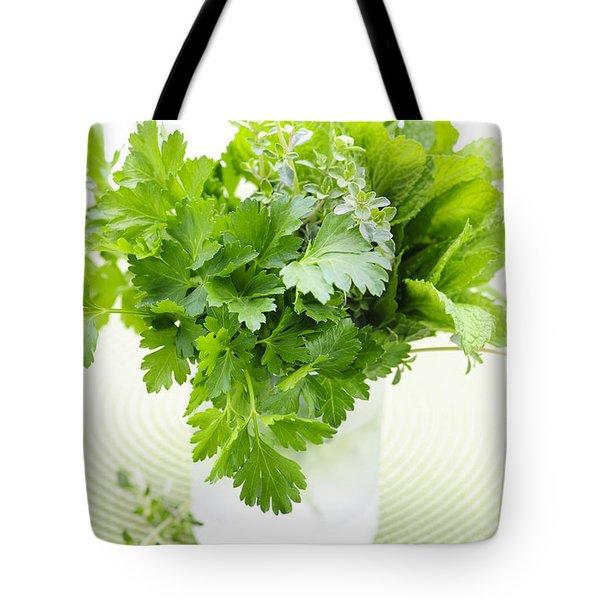 Fresh Herbs In A Glass Tote Bag by Elena Elisseeva