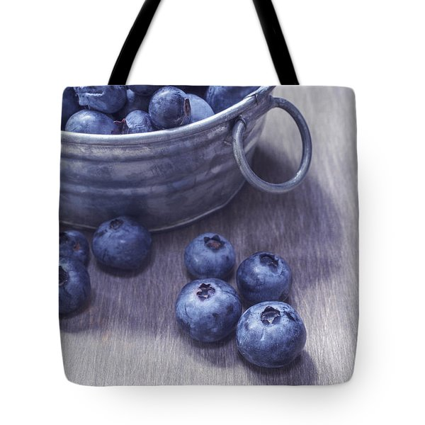 Fresh Picked Blueberries With Vintage Feel Tote Bag by Edward Fielding