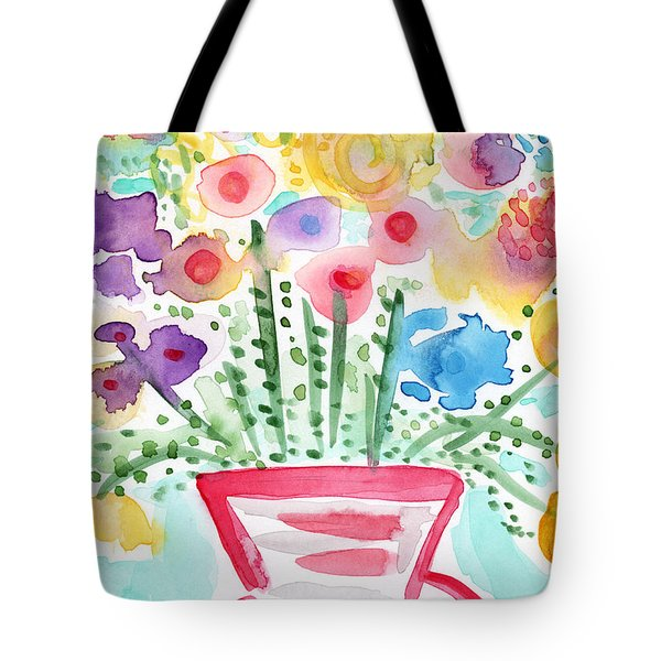 Fresh Picked Flowers- contemporary watercolor painting Tote Bag by Linda Woods