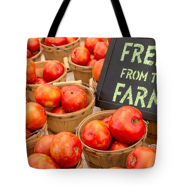 Fresh Tomatoes in Baskets at Farmers Market Tote Bag by Teri Virbickis