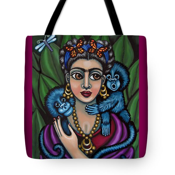 Frida's Monkeys Tote Bag by Victoria De Almeida