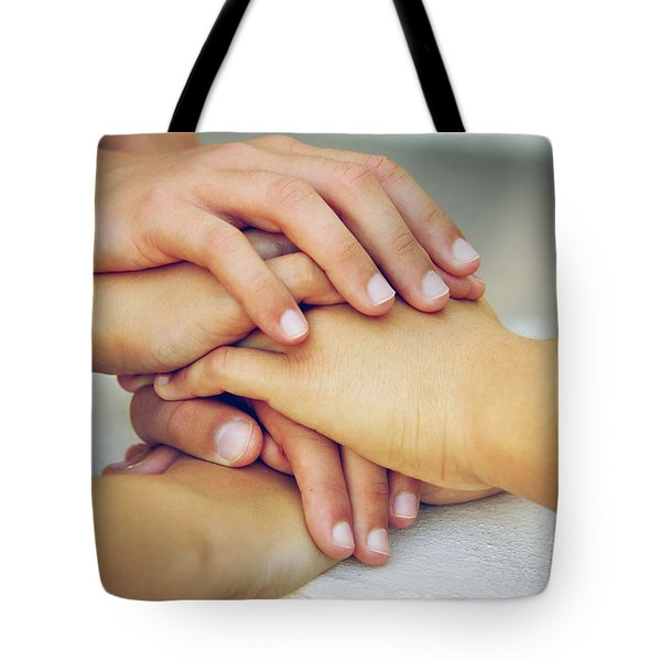 Friends Hands Tote Bag by Carlos Caetano