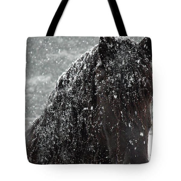 Friesian Snow Tote Bag by Fran J Scott