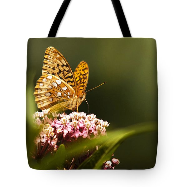 Fritillary Butterfly On Pink Milkweed Flower Tote Bag by Christina Rollo