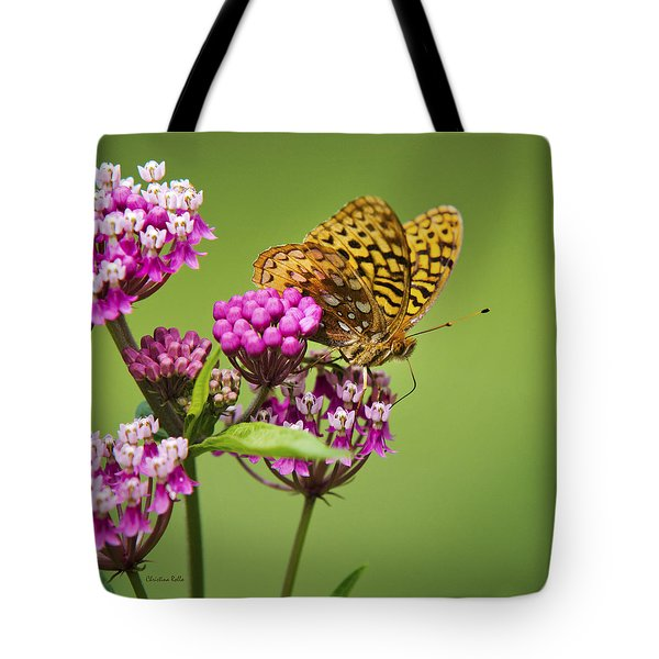 Fritillary Butterfly Square Format Tote Bag by Christina Rollo