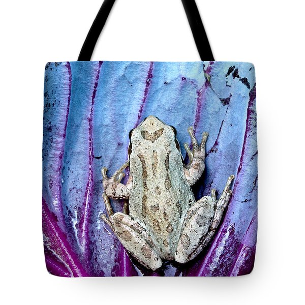 Frog On Cabbage Tote Bag by Jean Noren