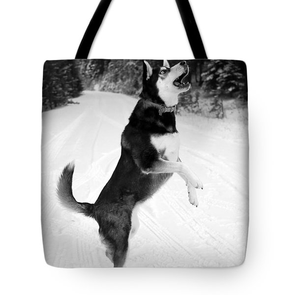 Frolicking in the Snow - Black and White Tote Bag by Carol Groenen
